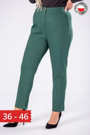 Pantaloni eleganti croi clasic cu pense verde0