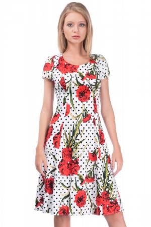 Rochie alba de vara din bumbac cu imprimeu floral - Marimi mari [1]