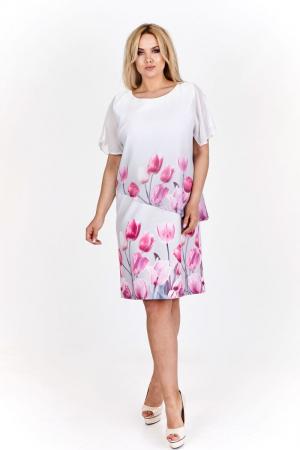 Rochie alba eleganta cu blazer cu imprimeu floral - Marimi mari [0]
