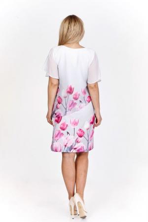 Rochie alba eleganta cu blazer cu imprimeu floral - Marimi mari [1]