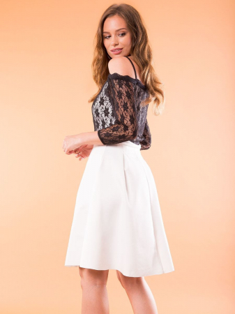 Rochie alba eleganta cu top din dantela neagra [2]