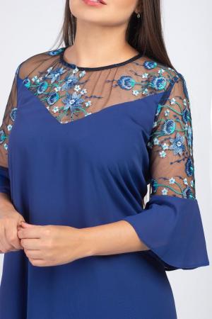 Rochie albastra eleganta din voal cu plasa si broderie - Marimi mari [1]