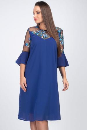 Rochie albastra eleganta din voal cu plasa si broderie - Marimi mari [2]