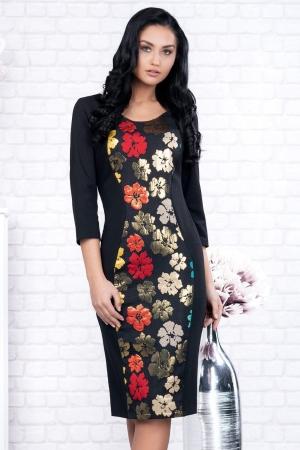 Rochie neagra midi cu imprimeu floral Ania1