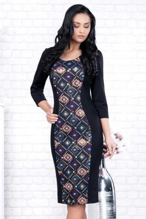 Rochie neagra casual cu imprimeu Ania1