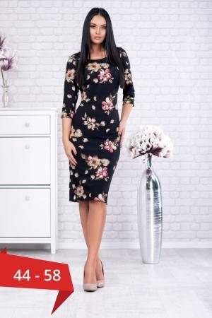 Rochie clasica de zi cu imprimeu floral Ariela, negru0