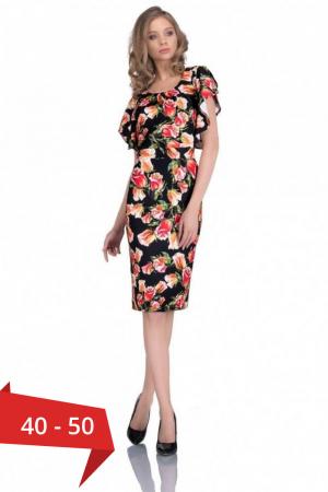 Rochie cu imprimeu trandafiri Alberta, negru/rosu0