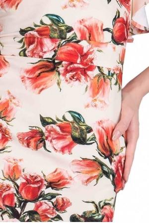 Rochie cu imprimeu trandafiri Alberta, orange2