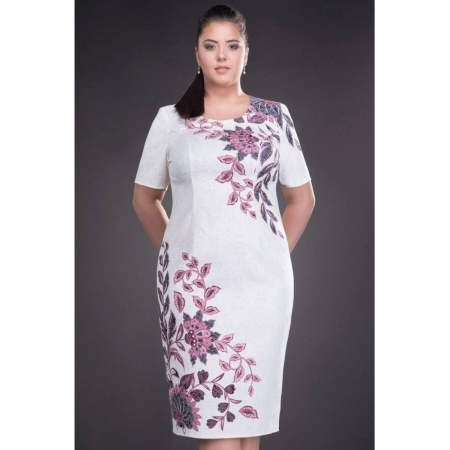 Rochie de ocazie cu imprimeu floral Cristina, alb1