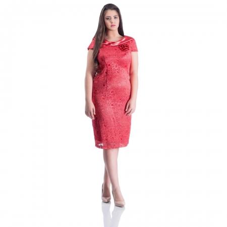 Rochie de ocazie din dantela si saten Gabriela, coral0