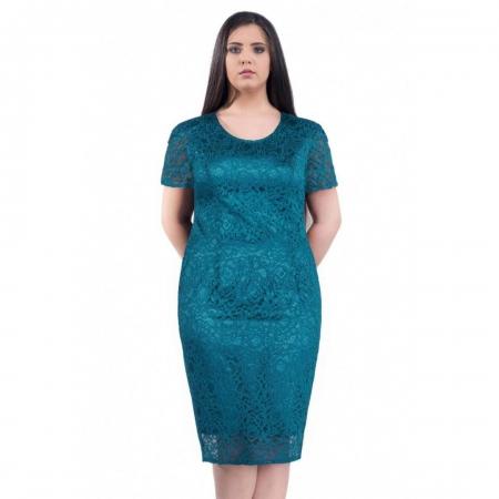 Rochie de ocazie din dantela si saten Grace, turquoise1