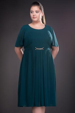 Rochie verde din voal marimi mari Lucinda3
