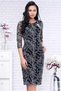 Rochie de ocazie midi din dantela neagra Paulina1