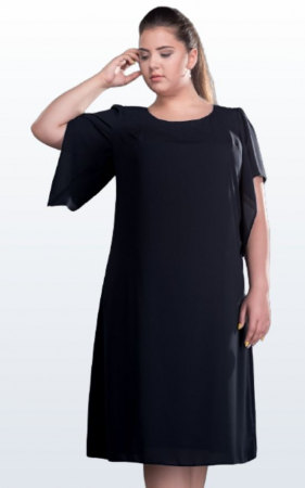 Rochie de ocazie midi din voal negru marimi mari [1]