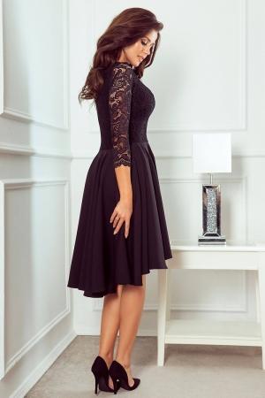 Rochie de seara asimetrica din dantela Nicolle, negru2