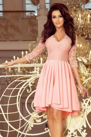 Rochie de seara asimetrica din dantela Nicolle, roz pastel1