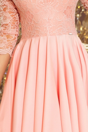 Rochie de seara asimetrica din dantela Nicolle, roz pastel3
