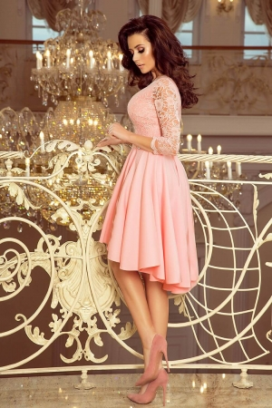 Rochie de seara asimetrica din dantela Nicolle, roz pastel2