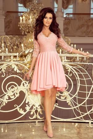 Rochie de seara asimetrica din dantela Nicolle, roz pastel0