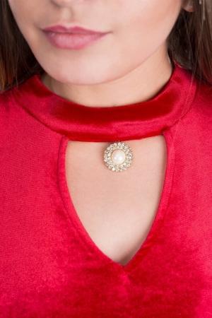 Rochie de seara din catifea cu broderie Iris, rosu2