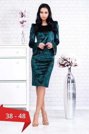 Rochie verde din catifea cu maneci clopot Morena0