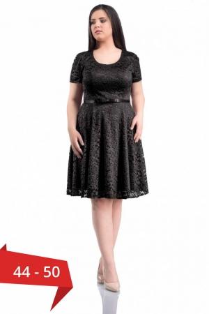 Rochie eleganta scurta din dantela neagra - Marimi mari [0]