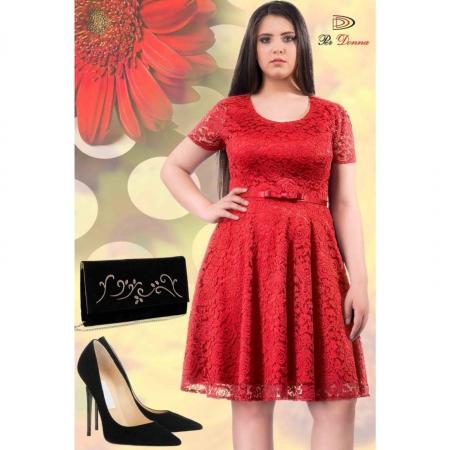 Rochie eleganta din dantela Sonia, rosu2