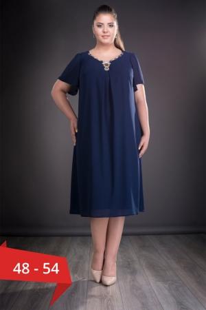 Rochie de seara din voal marimi mari Renata, bleumarin0