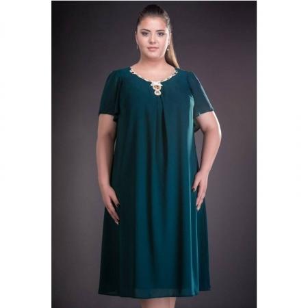 Rochie de seara din voal marimi mari Renata verde2