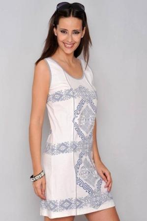 Rochie de vara din bumbac cu imprimeu HHG Spania, alb1