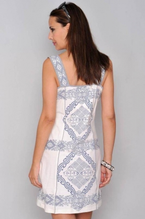 Rochie de vara din bumbac cu imprimeu HHG Spania, alb2