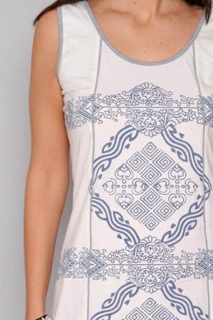Rochie de vara din bumbac cu imprimeu HHG Spania, alb3