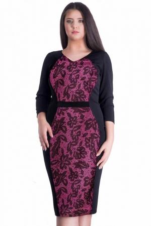 Rochie de zi cu imprimeu din catifea Caterina, negru/ciclam1