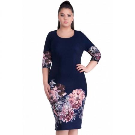 Rochie de zi cu imprimeu floral Anisoara, bleumarin1
