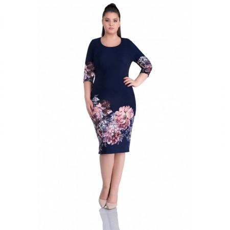 Rochie de zi cu imprimeu floral Anisoara, bleumarin0