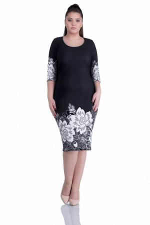 Rochie de zi cu imprimeu floral Anisoara, negru0