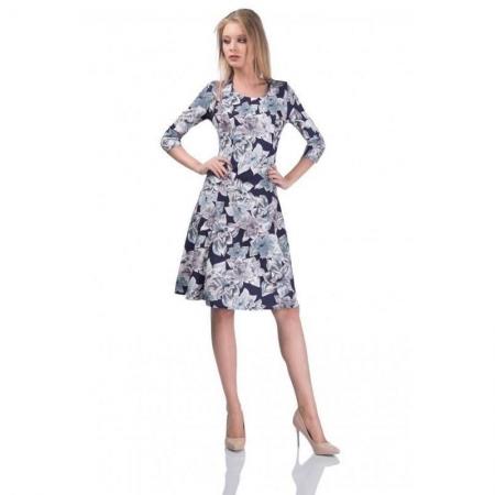 Rochie de zi cu imprimeu floral Cali, bleumarin/alb - marimi mici0
