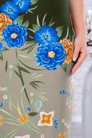 Rochie de zi cu flori marimi mari Augusta kaki2