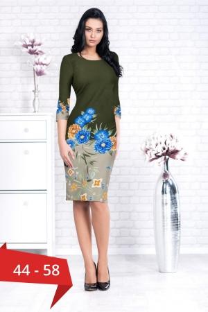 Rochie de zi cu flori marimi mari Augusta kaki0