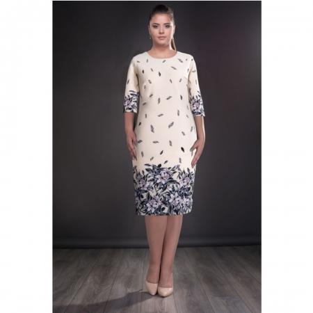 Rochie de zi cu imprimeu floral marimi mari Margareta, crem0