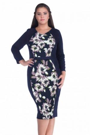 Rochie de zi cu imprimeu floral Melisa, bleumarin/mov1
