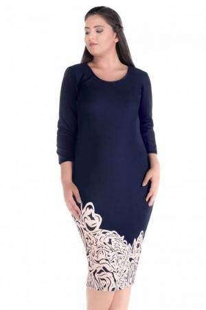 Rochie de zi cu imprimeu floral Sarina, bleumarin/crem1