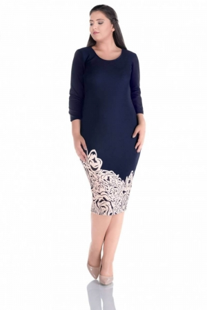 Rochie de zi cu imprimeu floral Sarina, bleumarin/crem0