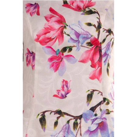 Rochie de zi cu imprimeu floral Silvia, crem1