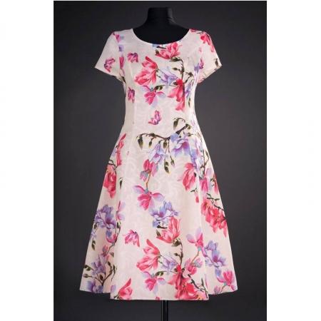 Rochie de zi cu imprimeu floral Silvia, crem0