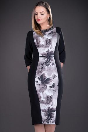 Rochie de zi cu imprimeu floral Vera, negru1