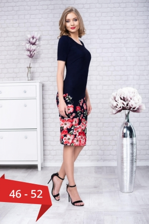 Rochii de zi elegante-rochie de zi imprimeu floral Zamfira bleumarin [0]