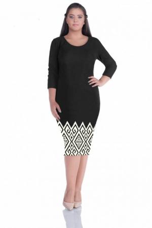 Rochie de zi cu imprimeu geometric Sarina, negru/alb0