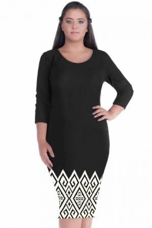 Rochie de zi cu imprimeu geometric Sarina, negru/alb1