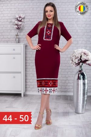 Rochie de zi cu motive traditionale Carmen culoare marsala0